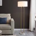 Beige/Flaxen Drum Shade Floor Lamp Modernist Single Light Fabric Stand Up Light for Living Room