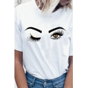 Casual Womens Cartoon Eyes Printed Short Sleeve Crew Neck Loose Fit T Shirt in White