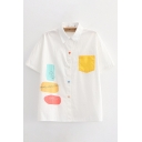 Cute Girls Formula Printed Contrasted Chest Pocket Colorful Button up Short Sleeve Point Collar Loose Shirt