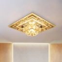 Floral Hallway Ceiling Mounted Light Clear Crystal LED Contemporary Flushmount Lighting