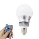 Silver 5/10 W RGBW Ball Light Bulb E14/E27 Color Changing Plastic 3 LED Beads Bulb with Remote, 1 Pack