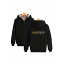 Sherpa Lined Cartoon Pattern Long Sleeve Zipper Front Relaxed Fit Popular Hoodie for Men
