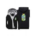 Simple Mens Letter Lyri Cal Lemon Juice Graphic Long Sleeve Zip up Sherpa Liner Regular Fit Hoodie in Black