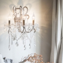 French Country Candle Style Wall Light 3 Bulbs Crystal Strands Sconce Lighting in White