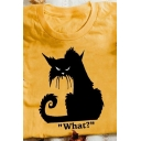 Trendy Letter What Cartoon Cat Graphic Rolled Short Sleeve Crew Neck Relaxed Fit Tee Top for Girls