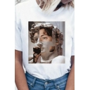 Simple Girls Funny Statue Print Short Sleeve Round Neck Relaxed T Shirt in White