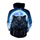 Unique Mens Moon Cat 3D Pattern Drawstring Pocket Long Sleeve Loose Fit Hoodie