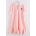 Preppy Girls Letter Peach Embroidery Contrasted Short Sleeve Turn down Collar Button up Ruffled Short A-line Polo Shirt Dress