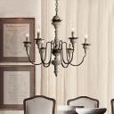 6 Bulbs Candelabra Pendant Lighting Farmhouse Wood Metallic Chandelier Lamp Fixture with Curved Arm