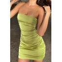 Edgy Girls Green Spaghetti Straps Ruched Short Sheath Cami Dress
