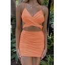 Party Ladies Spaghetti Straps Crisscross Hollow out Ruched Backless Plain Short Tight Cami Dress
