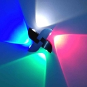 Pinwheel RGB LED 4-Side Wall Lighting Contemporary Aluminum Party Sconce Light Fixture in Black and Silver