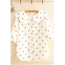 Pretty Ladies Polka Dot Printed Half Sleeve Peter Pan Collar Button down Relaxed Shirt Top