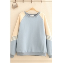 Preppy Girls Sherpa Liner Striped Contrasted Long Sleeve Crew Neck Loose Fit Pullover Sweatshirt in Blue