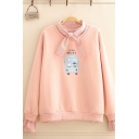 Lovely Girls Sherpa Lined False Two Piece Cartoon Graphic Checkered Patched Long Sleeve Bow Tied Neck Relaxed Pullover Sweatshirt