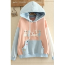 Popular Thick Sherpa Liner Cat Embroidery Contrasted Long Sleeve Drawstring Kangaroo Pocket Loose Hoodie for Girls