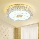 Modern Drum Ceiling Lamp Minimalist Crystal LED Flush Mount Light Fixture with Peacock Tail Pattern in Gold