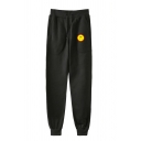 Casual Mens Smile Emjio Pattern Cuffed Pocket Drawstring Mid Rise Slim Fit Ankle Length Jogger Pants