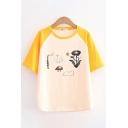 Fashionable Womens Cartoon Printed Raglan Short Sleeve Crew Neck Contrasted Loose Fit T-shirt