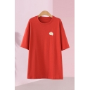 Womens Popular Fried Egg Embroidered Short Sleeve Crew Neck Long Relaxed T Shirt