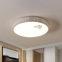 Minimalist Laser-Cut Round Flushmount Iron Bedroom LED Ceiling Mount Light with Butterfly Pattern in White