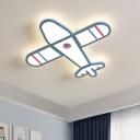Iron Helicopter Ceiling Lamp Kid Blue/White LED Flush Mount Recessed Lighting for Bedroom