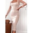 Stylish Womens Polka Dot Print Sheer Mesh Long Sleeve Square Neck Midi Bodycon Dress in Pink