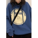 Korean Style Letter Today Is Cruel Print Long Sleeve Drawstring Pouch Pocket Loose Fit Hoodie for Women