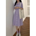 Pretty Womens Solid Color Short Sleeve Turn down Collar Button up Midi A-line Shirt Dress