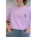 Pretty Girls Floral Print Short Sleeve Crew Neck Relaxed T Shirt