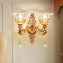 3-Layered Flower Bedside Wall Light Vintage Clear Glass 2-Light Gold Wall Sconce Lighting