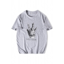 Fancy Mens Hand Pattern Letter Westside Short Sleeve Round Neck Relaxed Fitted Graphic T-Shirt
