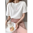 Pretty Girls Heart Pattern Short Sleeve Crew Neck Relaxed T-shirt in White
