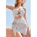 Stylish Womens Polka Dot Printed Strapless Bow Tied Cut out Short A-line Dress in White