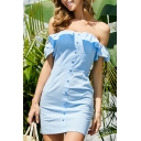 Stylish Ladies Off the Shoulder Ruffled Button up Mini Bodycon Dress in Blue