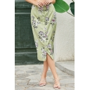 Vintage Allover Flower Printed High Rise Button down Mid Shift Skirt in Green