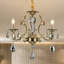 Bronze Candlestick Chandelier Antique Metal 3-Bulb Restaurant Hanging Light Fixture with Crystal Accent