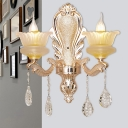 2-Light Wall Mount Lighting Traditional Dining Room Sconce with Flared Frosted Glass Shade in Gold