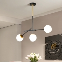 Minimalist Branching Drop Lamp White Ball Glass 3 Heads Dining Room Ceiling Chandelier in Black and Gold