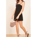 Womens Stylish Solid Color Knitted Bow Tied Shoulder Mini A-line Slip Dress