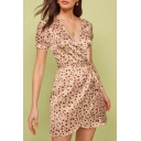 Popular Womens Ditsy Floral Print Short Sleeve Surplice Neck Bow Tied Waist Mini Wrap Dress in Pink
