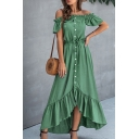 Pretty Womens Solid Color Ruffled Trim Short Sleeve Square Neck Button down High Low Hem Maxi Pleated A-line Dress