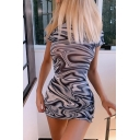Womens Stylish Abstract Stripe Print Stringy Selvedge Mini Fit Dress in Black