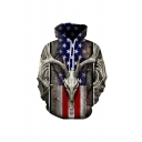 Chic 3D Goat USA Flag Pattern Pocket Drawstring Long Sleeve Fitted Hooded Sweatshirt for Men