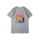 Leisure Letter Winner Plusmans Cartoon Graphic Short Sleeve Crew Neck Relaxed Fit T Shirt for Boys
