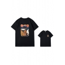 Trendy Mens Cartoon Printed Short Sleeve Crew Neck Relaxed Fit Tee Top