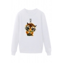 Cool Tiger Pattern Chinese Letter Pullover Long Sleeve Round Neck Regular Fit Graphic Sweatshirt for Men