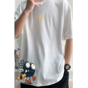 Trendy Cartoon Character Letter Cool Yeah Printed Short Sleeve Round Neck Fitted Graphic Tee Top for Men