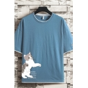Popular Mens Cat Letter Printed Half Sleeve Round Neck Fitted Graphic Fake Two Piece T-Shirt