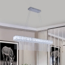 Rectangle Clear Crystal Island Light Fixture Modernism LED Chrome Pendant Ceiling Lamp with Suspended Strand